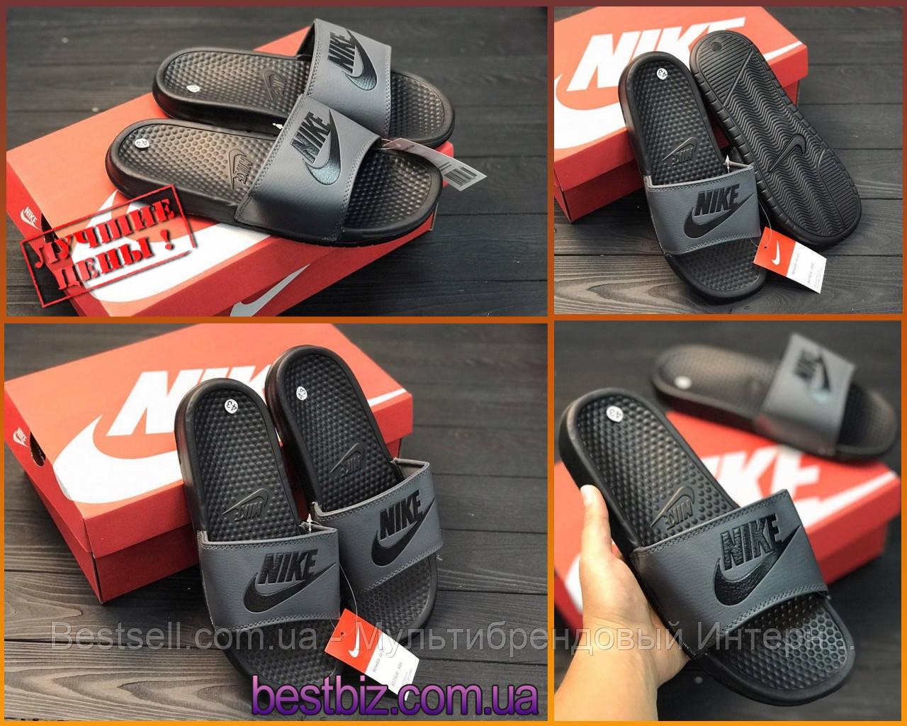 Шлепанцы мужские черные Nike / Сланцы Nike(шлепки,шлепанцы)