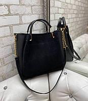 Замшевая черная женская сумка городская вместительная на плечо натуральная замша+кожзам