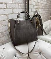 Замшевая женская сумка большая вместительная на плечо натуральная замша+кожзам