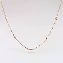 "Цепочка ""Сингапур"" с бусинами SONATA из медицинского золота, позолота РО, 31440       (50 см)"