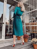 Женское шелковое платье плиссе цвет изумрудный, фото 3