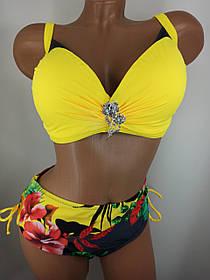 Женский яркий купальник с плотной чашкой Sisianna 3181356 желтый на 50 52  56 58 размер