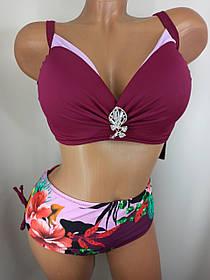 Женский яркий купальник с плотной чашкой Sisianna 3181356 марсала на 50 52 54 56 58 размер