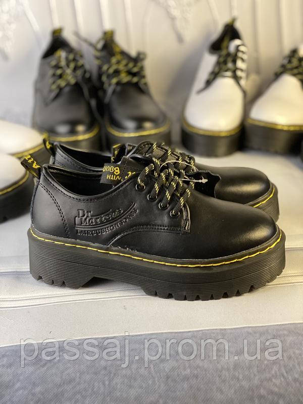 Туфли из натуральной кожи черного цвета