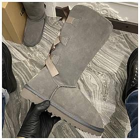 Женские зимние UGG Bailey bow tall II 2 boot Grey, серые замшевые сапоги угги бейли боу женские ботинки уги