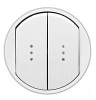 Celiane Лицьова панель вимикача/перемикача (з підсвіткою/індикацією) 2-клавішного Білий
