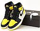 Мужские кроссовки Nike Air Jordan 1 Retro (желто-черные с белым) 12434 повседневные демисезонные кроссы, фото 9