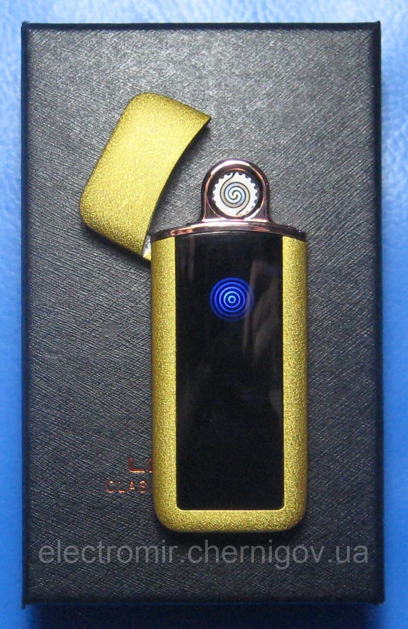USB-зажигалка спиральная с сенсорной кнопкой S817 (золотистая)