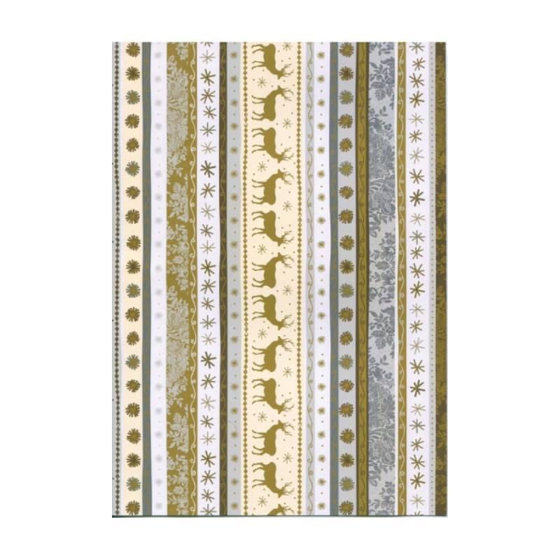 Бумага для дизайна A4 Heyda Новогодние бордюры 21х29,7см 300г/м2 золото (4823064990928)