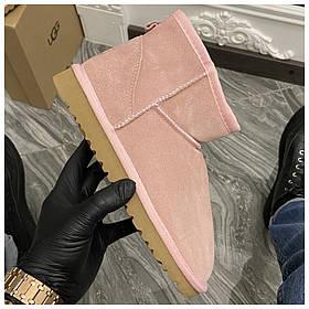 Женские зимние Ugg Classic Mini Suede Pink, розовые замшевые угги классик мини женские ботинки уги зимние