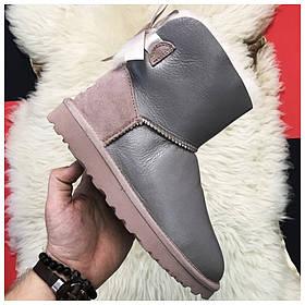 Женские зимние UGG Mini Bailey Bow II 2 Grey, серые кожаные угги мини бейли боу женские ботинки уги зимние