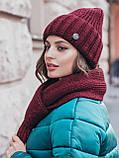 Комплект з шапки-ковпак і шарфа великої в'язки в сірому кольорі, фото 2