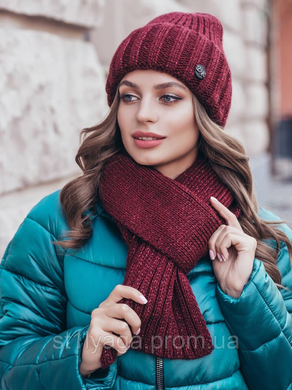 Комплект з шапки-ковпак і шарфа великої в'язки в сірому кольорі