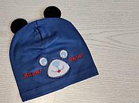 Шапка с ушками для мальчика трикотажная Размер 48-52 см Возраст 3-5 лет, фото 3