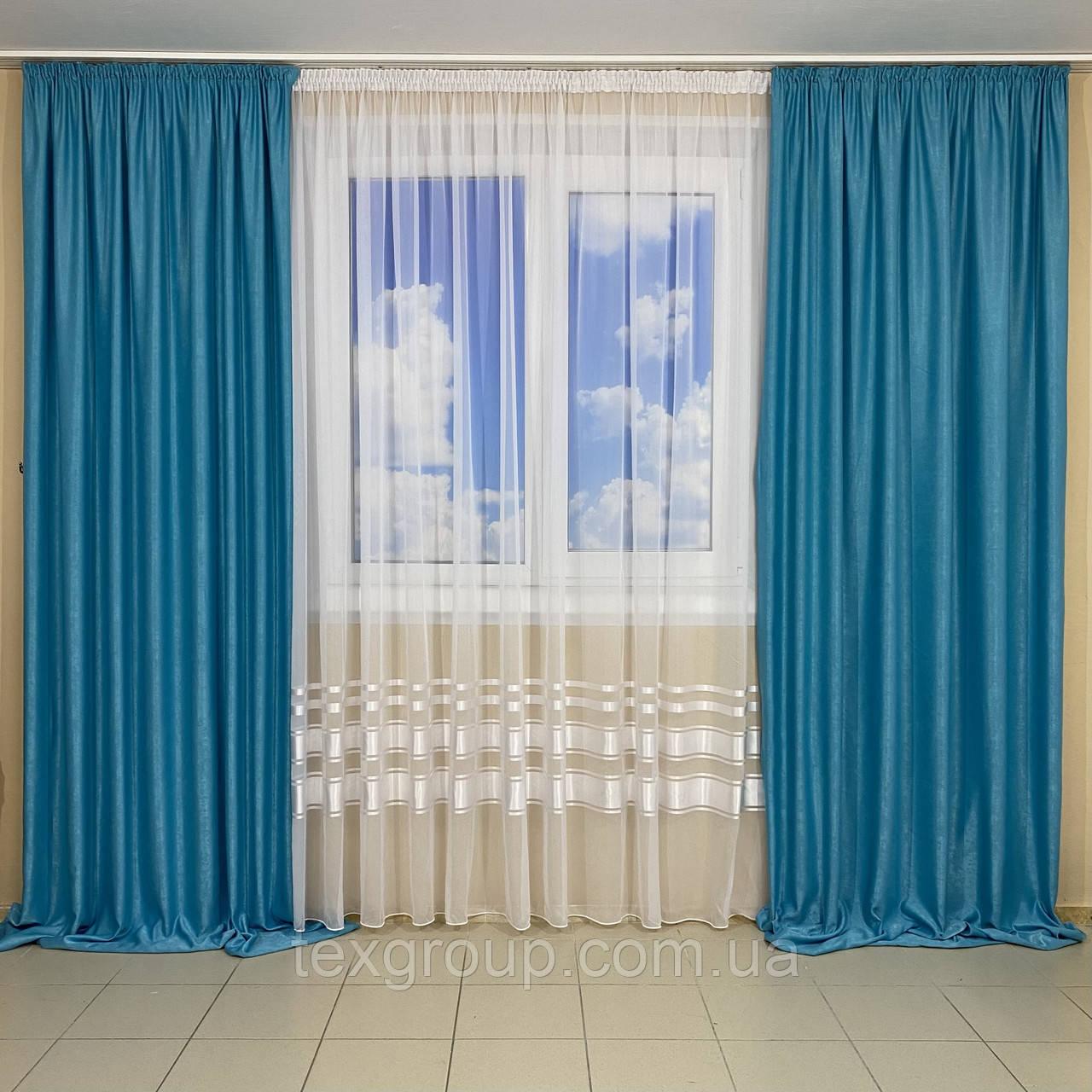 Готові штори з тюлем №435 Софт і шифон