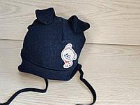 Трикотажная шапка для мальчика на завязках с собачкой Размер 42-44 см Возраст 4-8 месяцев, фото 2