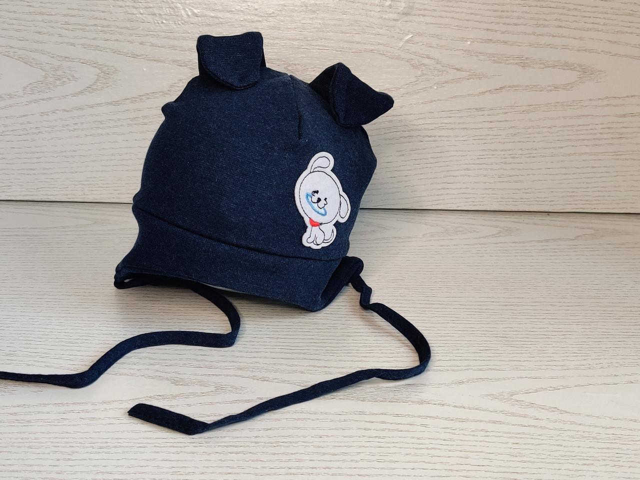 Трикотажная шапка для мальчика на завязках с собачкой Размер 42-44 см Возраст 4-8 месяцев