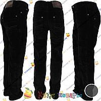 Вельветовые брюки черного цвета с флисом для мальчика от 5 до 10 лет (3856)