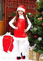 Красный детскиё новогодний костюм Сарафан с шапочкой для девочки 2-5 лет