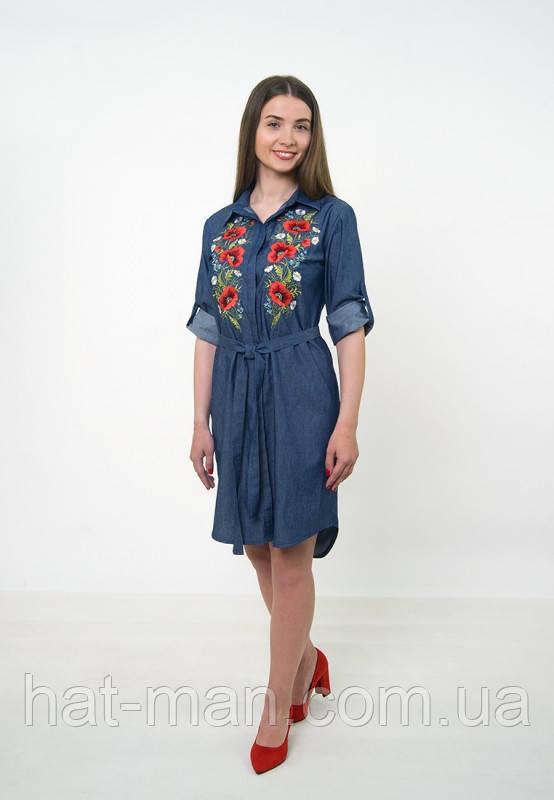 """Сучасна вишита сукня """"Польові квіти"""" (джинс)"""