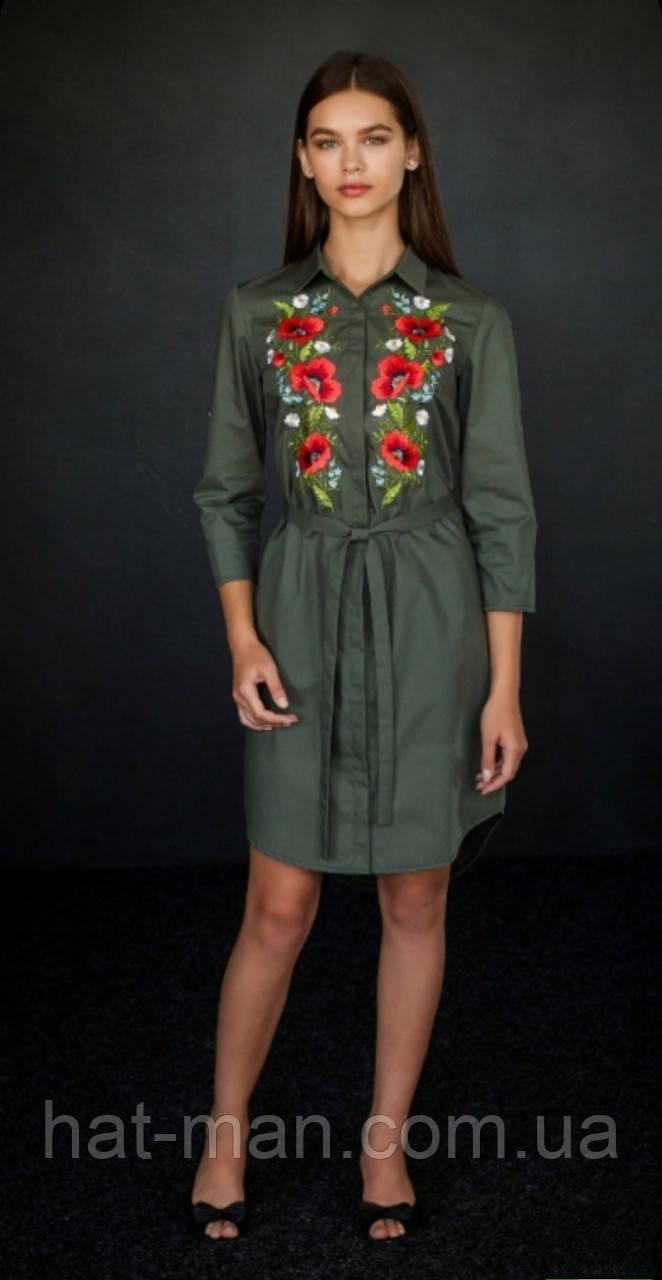 """Сучасна вишита сукня """"Польові квіти"""" (олива)"""