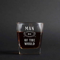 "Стакан для виски ""Man №1 of the world"""