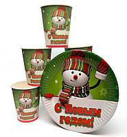 "Набор ""Дед Мороз"". Тарелки (18см) -10шт. Стаканчики (250мл) -10шт."