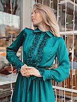 Женское шелковое платье плиссе цвет изумрудный, фото 4