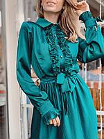 Женское шелковое платье плиссе цвет изумрудный, фото 5