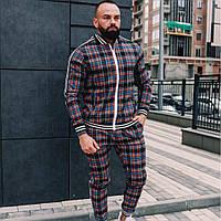 Мужской спортивный костюм в клеточку  Джентльмен  черный с красными и синими полосками