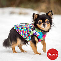Жилет утепленный для собак DIEGO sport 1/4 арлекин, размер 1 - длина спины- 23-28см, обхват груди 20-35,