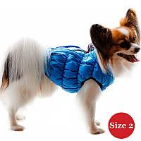 Жилет утепленный для собак DIEGO sport 2/5 голубой, размер 2 - длина спины- 25-33см, обхват груди 30-52,