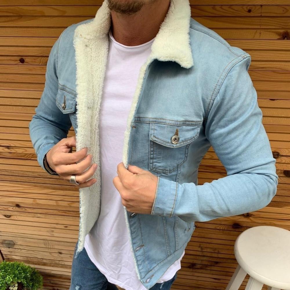 Стильна джинсова куртка чоловіча Zara на хутрі Туреччина | Джинсовці тепла синя
