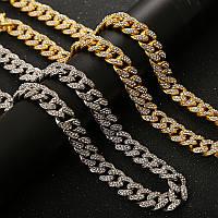 Длинная серебряная кубинская цепь цепочка подвеска мужская женская унисекс на шею с камнями сваровск