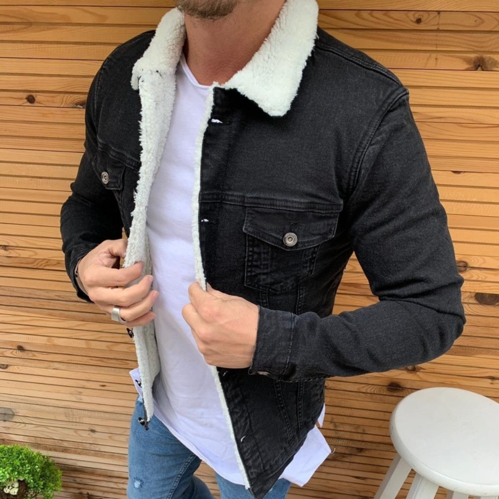 Стильна джинсова куртка чоловіча Zara на хутрі Туреччина | Джинсовці тепла чорна