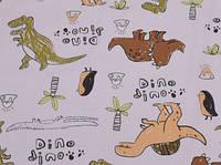 Сатин-твил Динозавры на сером, фото 1