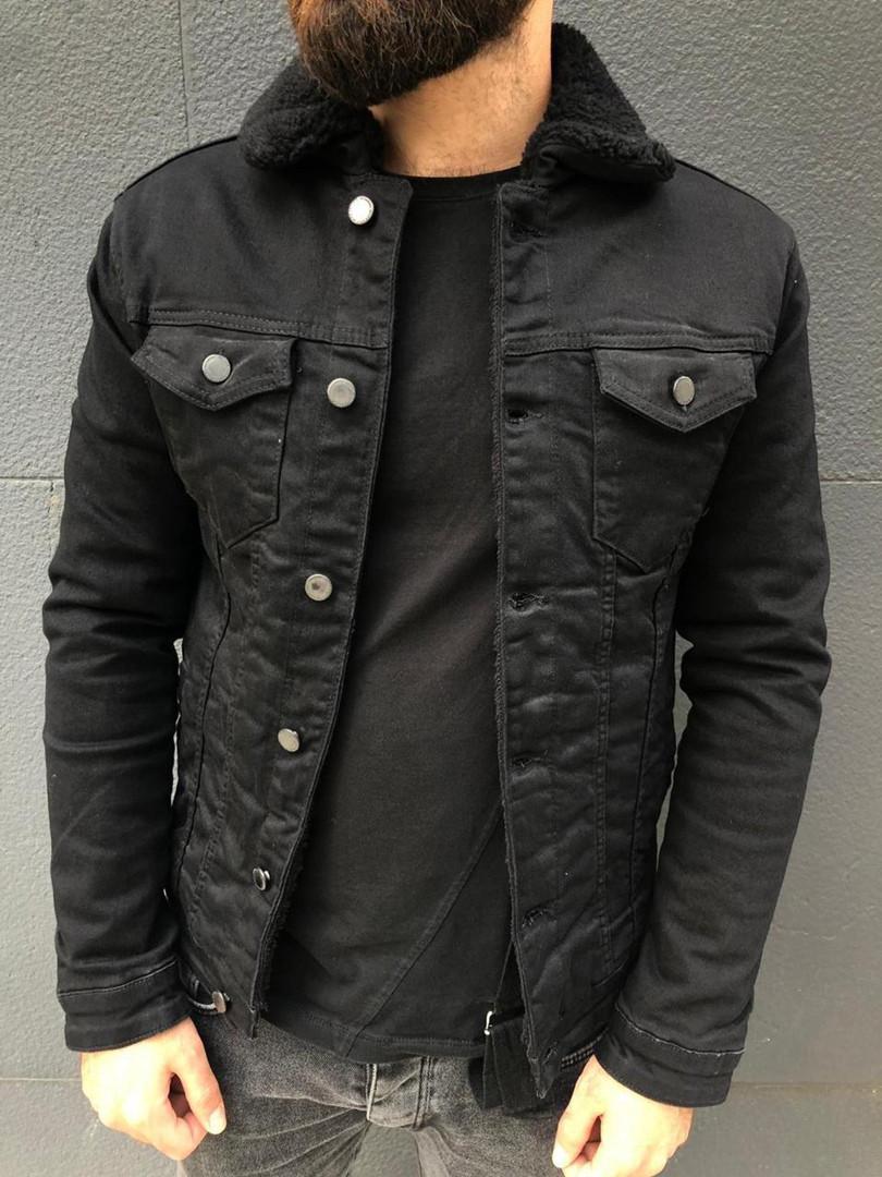 Стильна куртка чоловіча джинсовий на хутрі Туреччина | Джинсовці тепла чорна