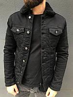 Стильна куртка чоловіча джинсовий на хутрі Туреччина | Джинсовці тепла чорна, фото 1