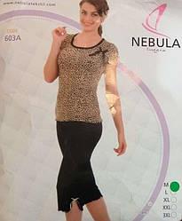 Комплект летний женской домашней одежды,  (футболка короткий рукав+бриджи), вискоза Nebula (размер M)