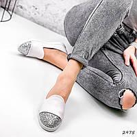 Туфлі-балетки жіночі Lorri білі + срібло 2975