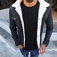 Джинсова чоловіча куртка на хутрі Туреччина   Джинсовці тепла чорна, фото 1