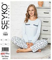 Пижама женская демисезонная  (футб. длинный рукав +штаны), рисунок.  Fendi (размер M)