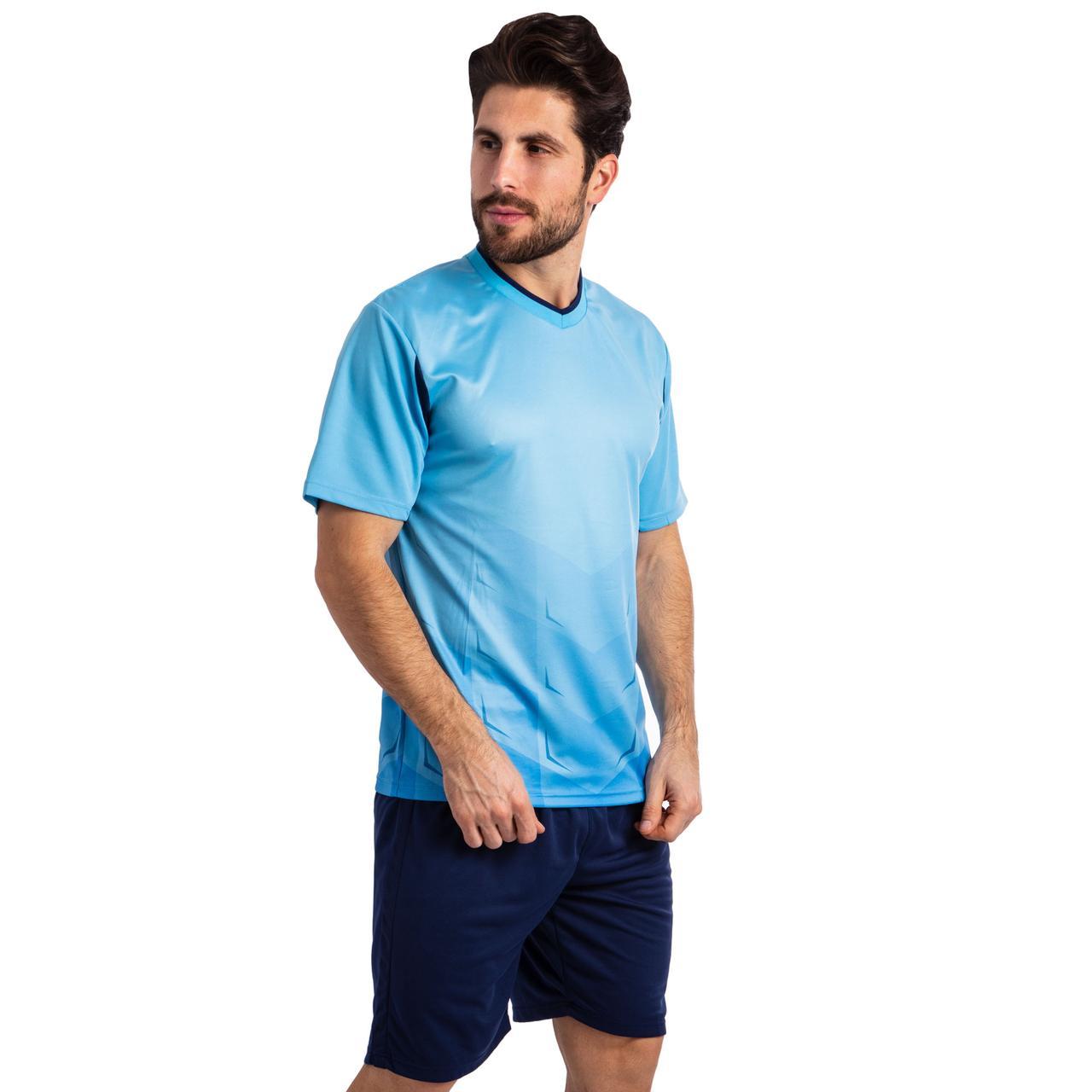 Форма футбольная SP-Sport Rhomb голубая 11-F, рост 165-170