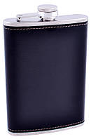 Фляга з неіржавіючої сталі (Шкіра) №FS-9 Black