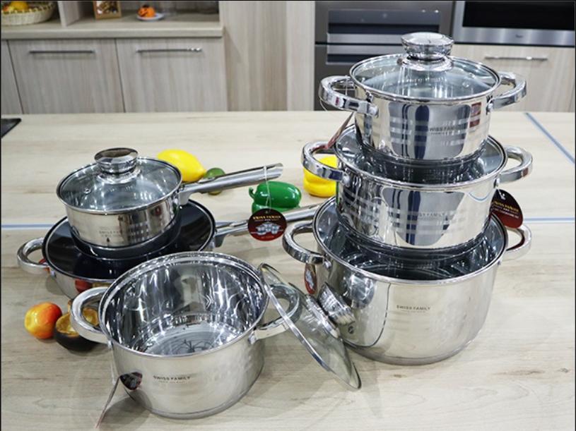 Кухонний набір посуду Swiss Family 1225M з нержавіючої сталі 12 предметів