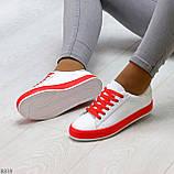 Актуальные яркие белые красные женские кеды шнуровка на весну 2021, фото 2
