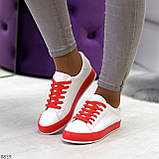Актуальные яркие белые красные женские кеды шнуровка на весну 2021, фото 4