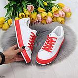 Актуальные яркие белые красные женские кеды шнуровка на весну 2021, фото 10