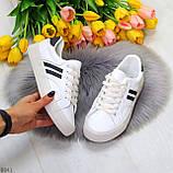 Практичные повседневные черно - белые женские кеды шнуровка на весну 2021, фото 5