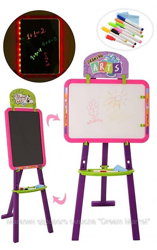 Двухсторонний Мольберт с LED планшетом и подсветкой, обычные и флуоресцентные маркеры, розовый, высота 99см